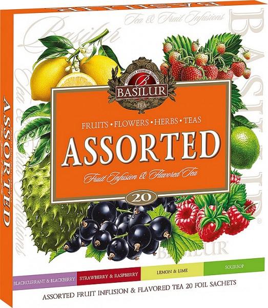 Basilur Tea Variation von Früchteteesorten, schwarzen und grünen Teesorten, 20 Stück