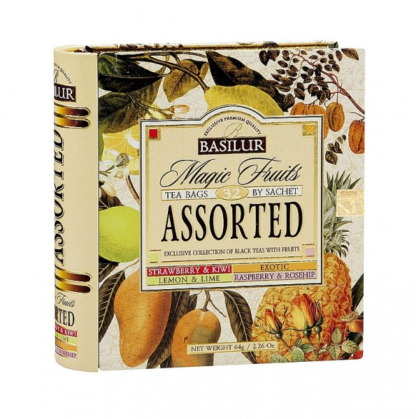 Basilur Tea Magic Fruits – Assorted Exclusive Collection of Black Teas with Fruits (32 Beutel)