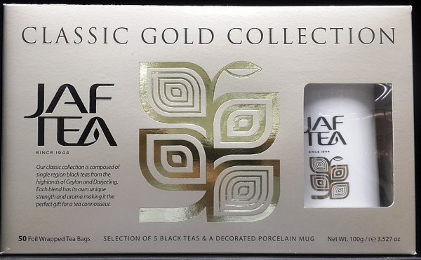 Jaf Tea Variation von schwarzen Tees Classic Gold Melange, 50 Stück + Keramiktasse