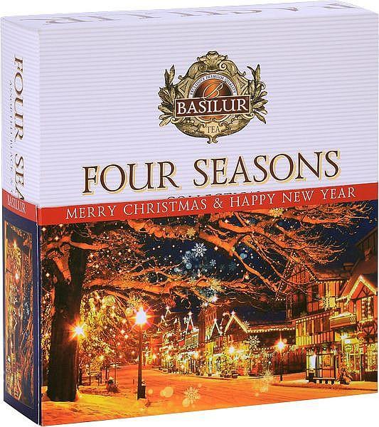 Basilur Tea Four Seasons Christmas Asorty schwarz und grünen Tee 4 Sorten 40 Folienbeutel