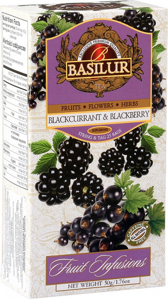 Basilur Tea Fruit Blackcurrant & Blackberry 25 Beutel x 2g 50g.